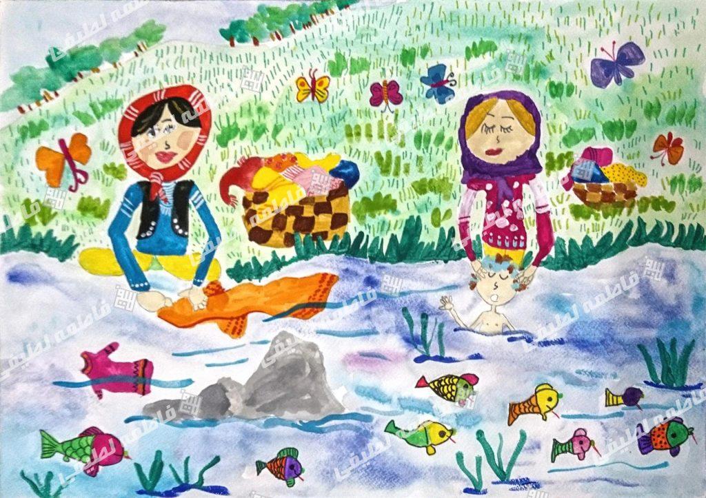 زندگی مردم روستا - هنرمند در نقاشی ساده خود به مردم روستا که از رودخانه برای انجام بعضی از کارهایشان استفاده می کنند فکر کرده است.