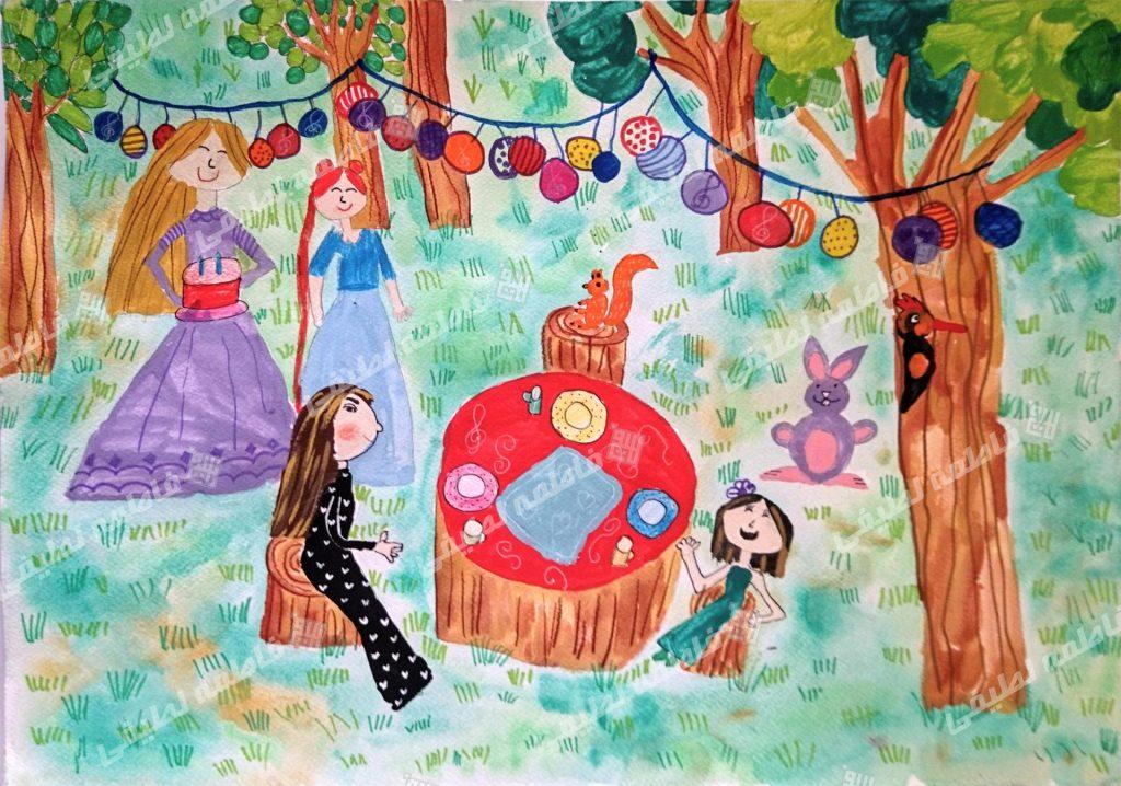 این تصویر یکی از آثار نقاشی هنرجویان است که در آن حیوانات و دوستان دختری کوچک به جشن تولدش در جنگل آمده اند.