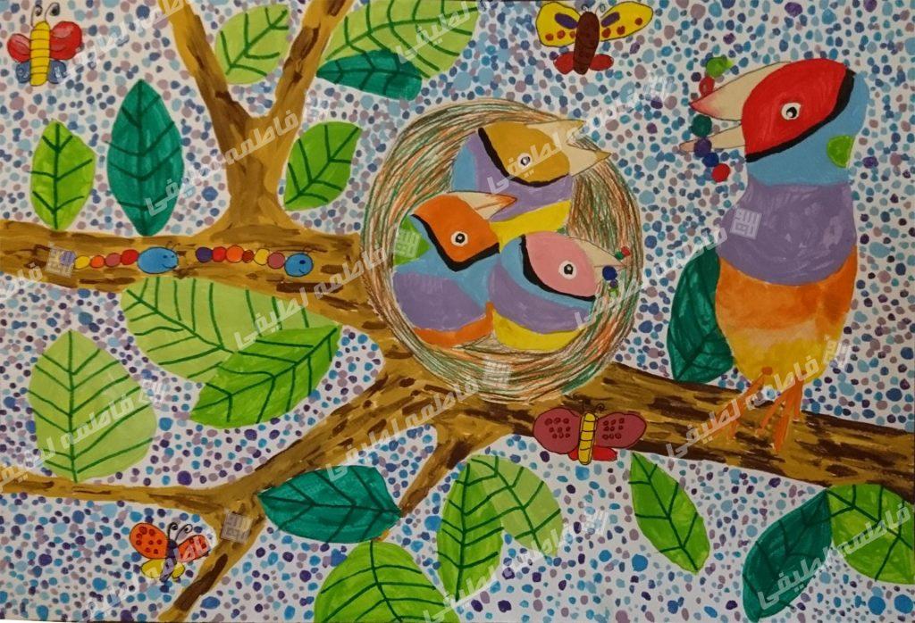 پرنده ها - نقاش که غذا خوردن پرنده ها را از نزدیک دیده، آن صحنه را به تصویر کشیده است
