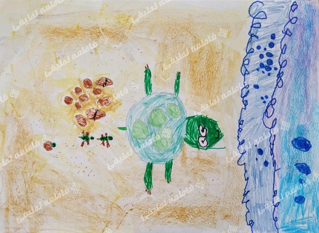 بچه لاکپشتها - هنرمند کوچک سعی میکند تا لاکپشت و به دنیا آمدن بچههایش را نقاشی کند.
