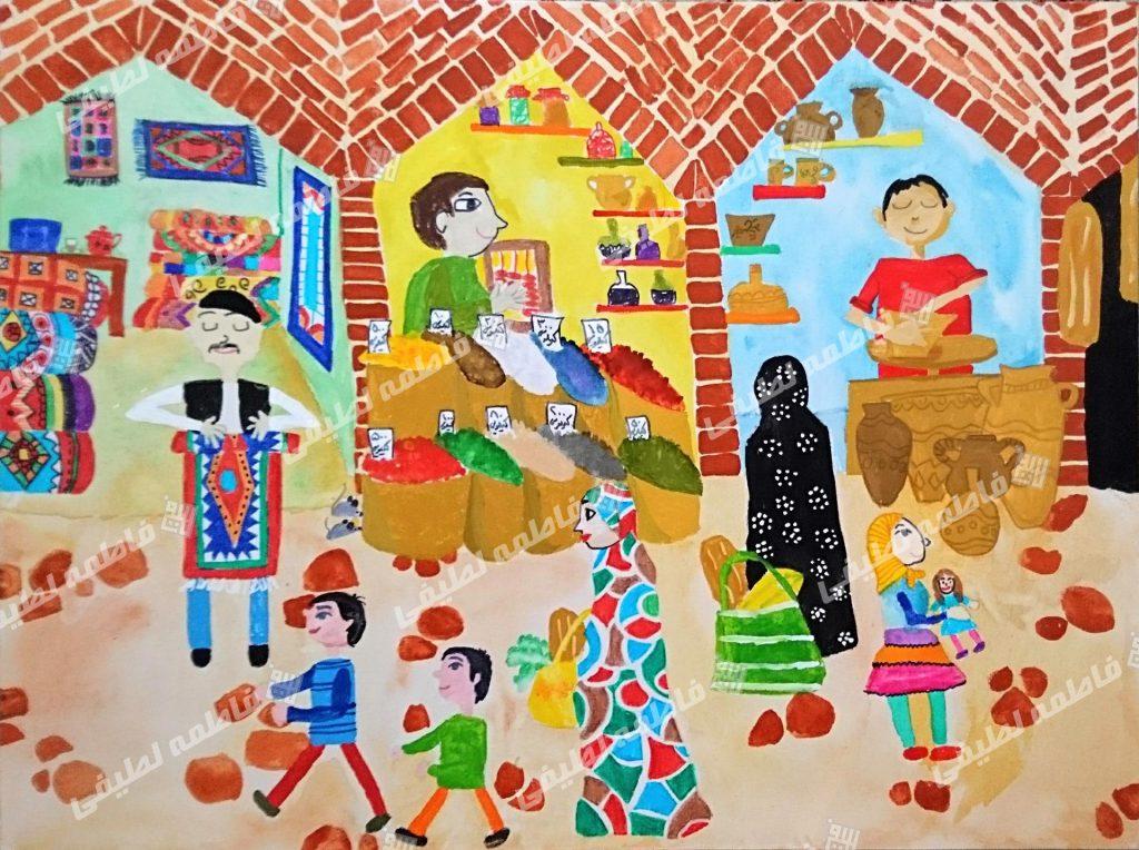 بازارهای قدیمی - هنرمند تلاش کرده تا یک بازار سنتی ایرانی را با تمام جزییاتی که در توانش هست به تصویر بکشد.