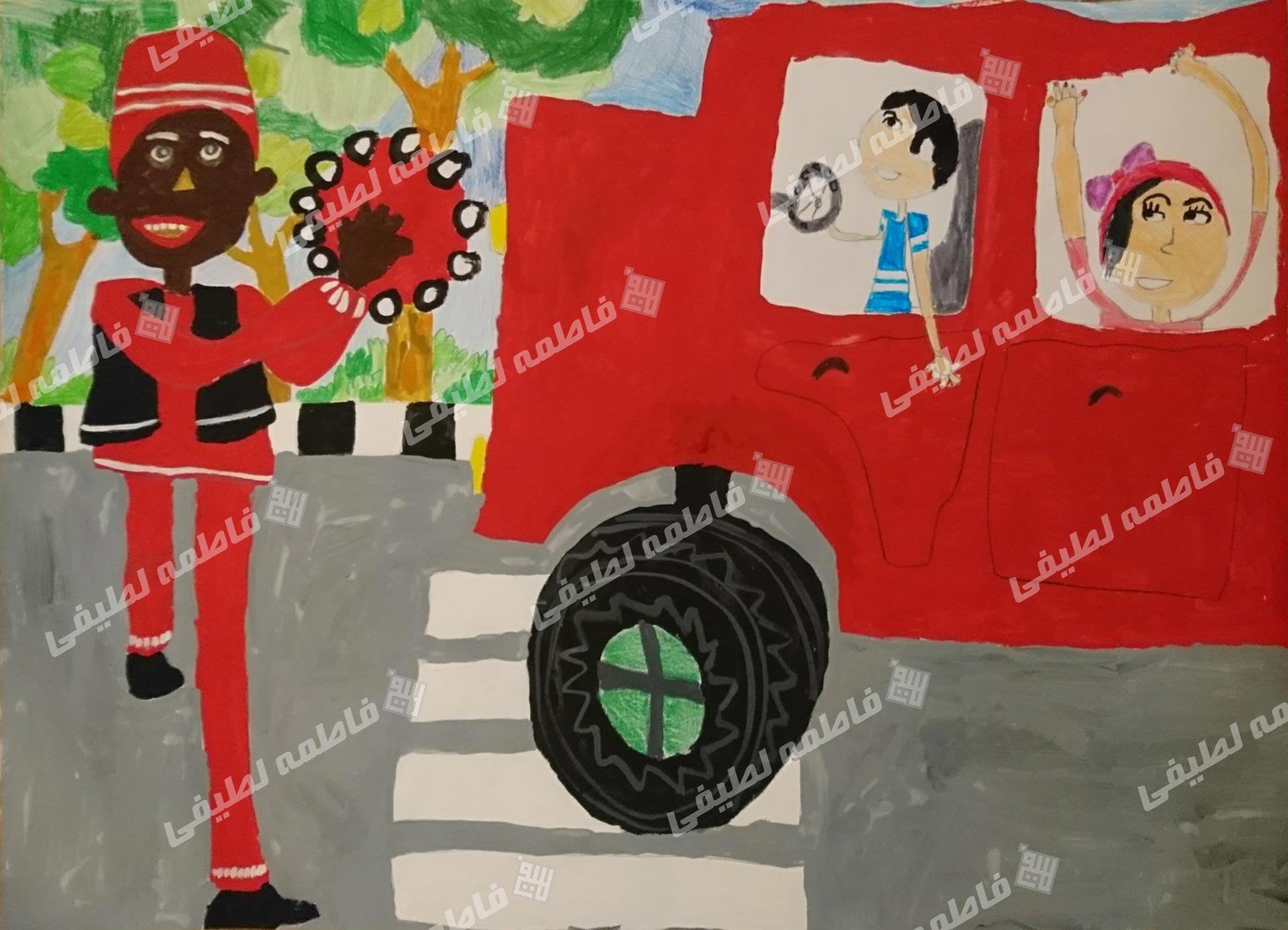 یک اثر دیگر از هنرمندان کوچک من. نقاشی ساده کودکانه از حاجی فیروز که لباسش هم رنگ ماشین جدیدی است که بابای هنرجو خریده